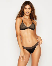 Sheer Addiction Skimpy Bikini Bottom in Black with Sheer Elastic Stripes - front view