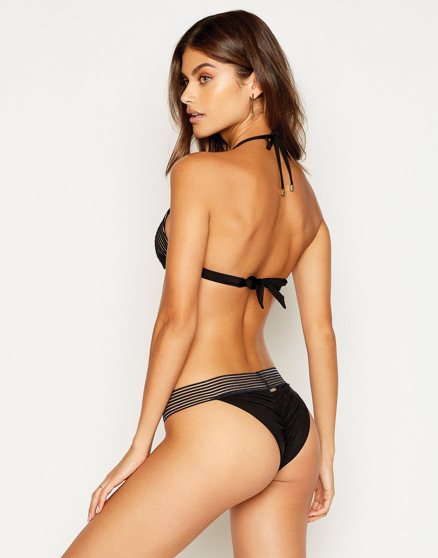 Sheer Addiction Triangle Bikini Top in Black with Nude Lining - back view