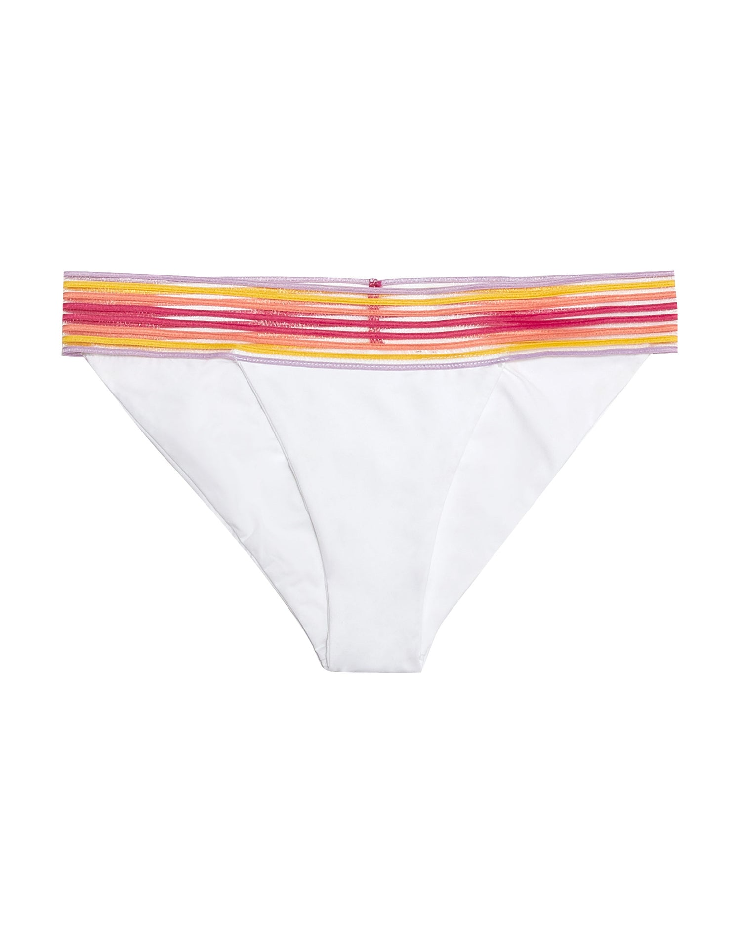 Sheer Addiction Skimpy Bikini Bottom in White with Pink/Yellow and Elastic Stripe Band - product view