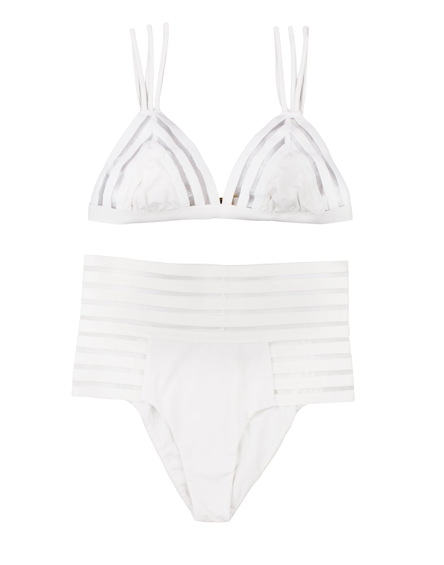 Sheer Addiction High Waist Bikini Bottom in White with Sheer Elastic Stripes - product view