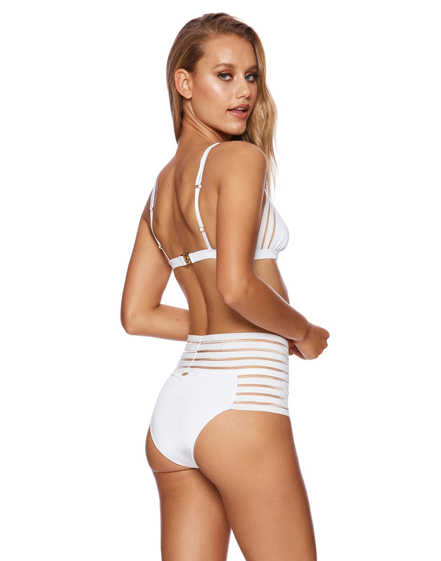 Sheer Addiction High Waist Bikini Bottom in White with Sheer Elastic Stripes - back view