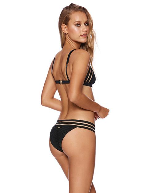 Sheer Addiction Triangle Bikini Top in Black with Sheer Elastic Stripes - back view