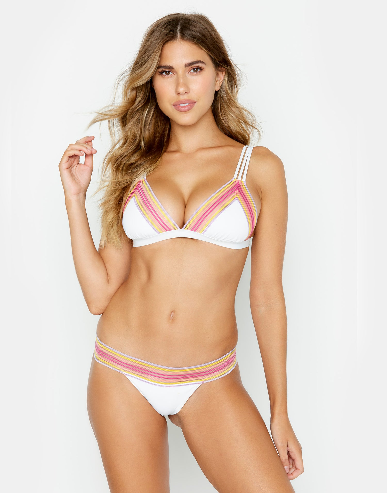 Sheer Addiction Triangle Bikini Top in White with Pink/Yellow and Elastic Stripes - front view