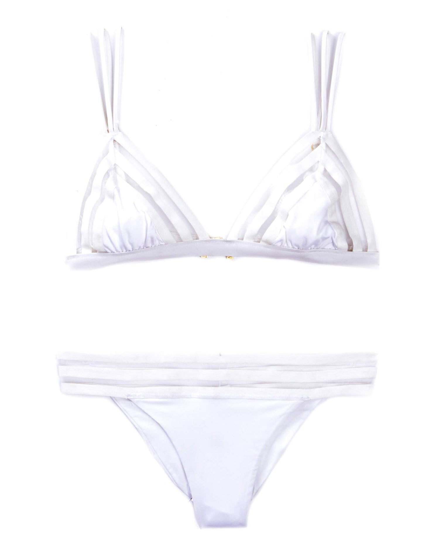 Sheer Addiction Skimpy Bikini Bottom in White with Sheer Elastic Stripe Band - product view