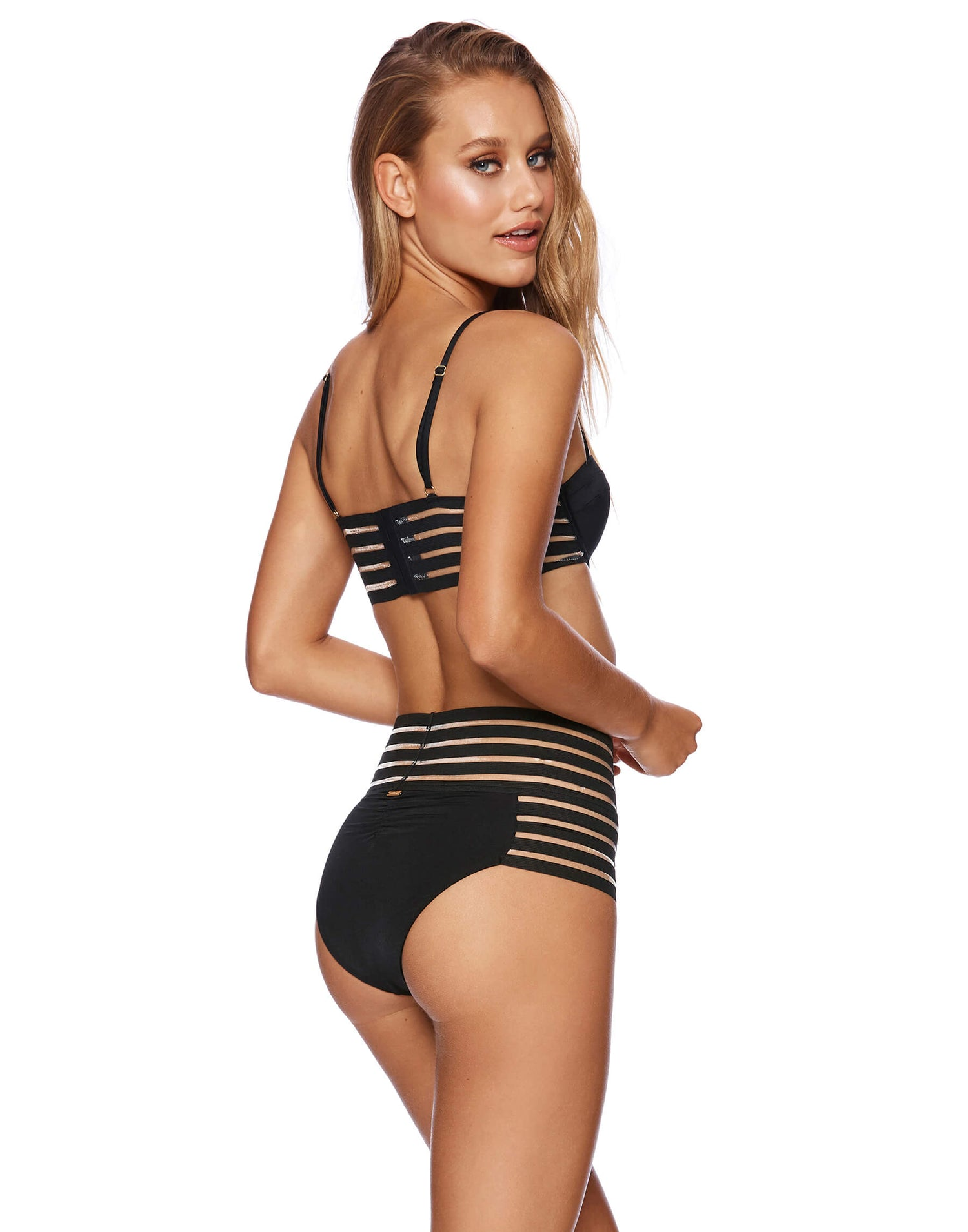 Sheer Addiction Balconette Bikini Top in Black with Sheer Elastic Stripes - back view