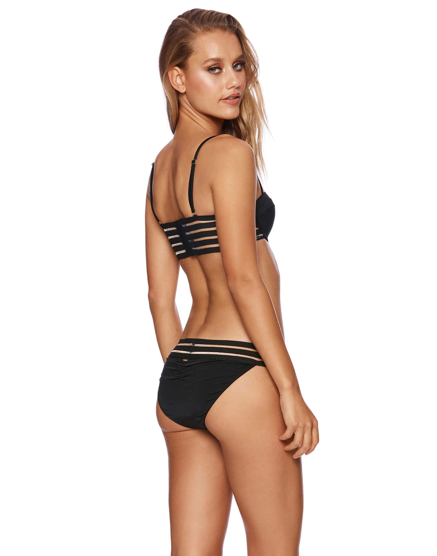 Sheer Addiction Full Bikini Bottom in Black with Sheer Elastic Stripe Band - back view