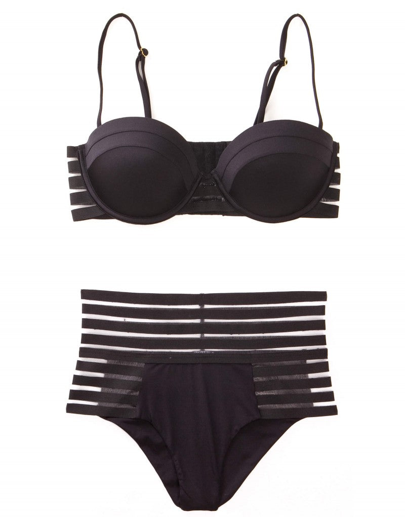 Sheer Addiction Balconette Bikini Top in Black with Sheer Elastic Stripes - product view