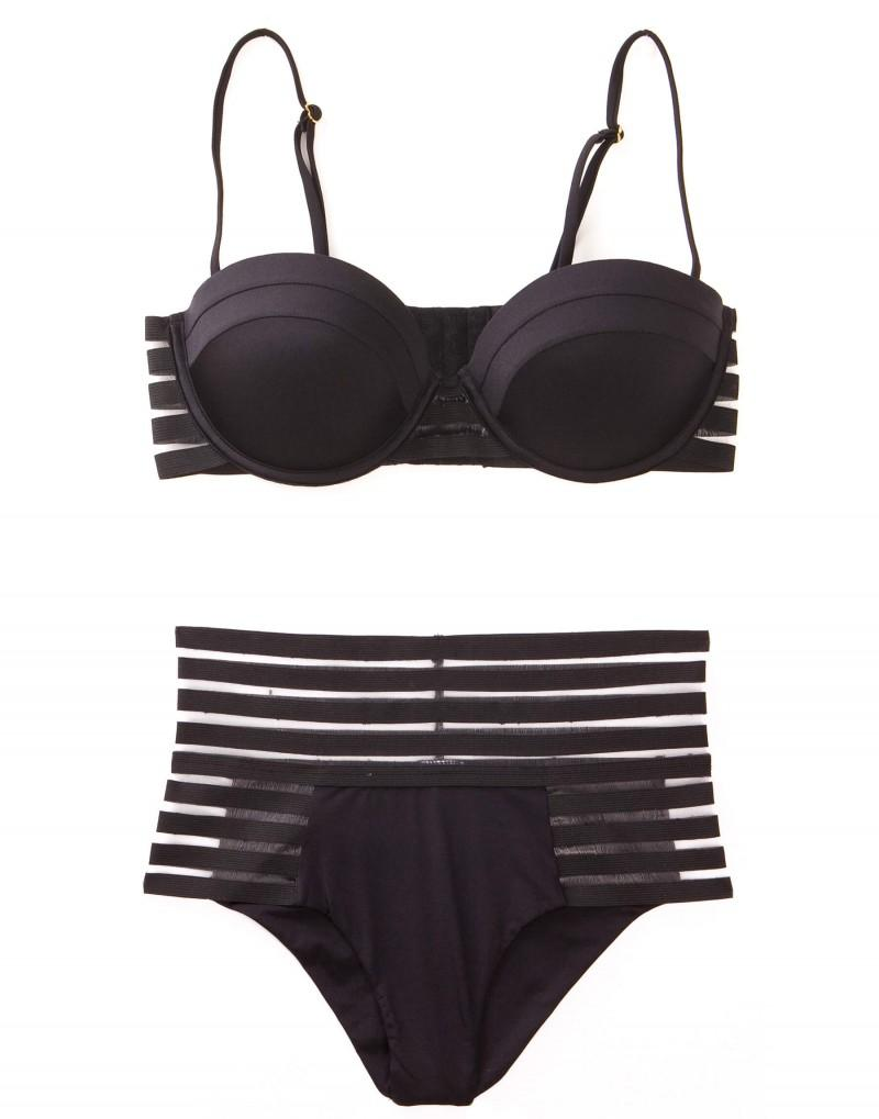 Sheer Addiction High Waist Bikini Bottom in Black with Sheer Elastic Stripes - product view