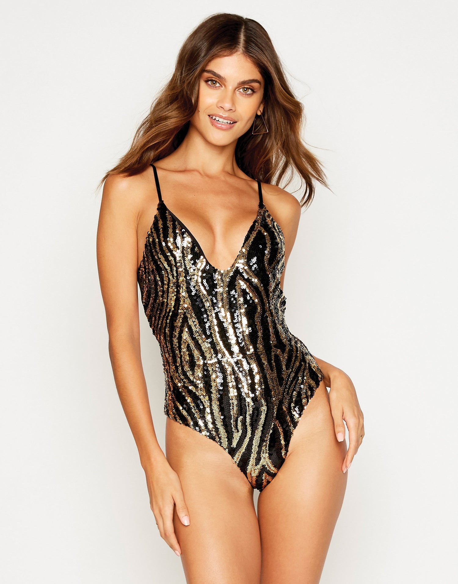 Shiloh One Piece in Black with Gold and Black Sequins - front view