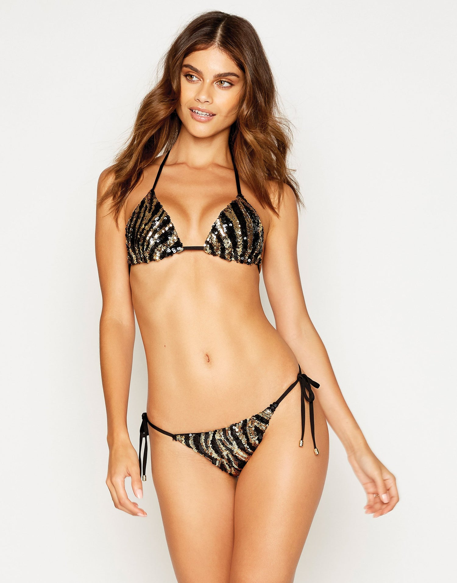 Shiloh Tie Side Bikini Bottom in Black with Gold and Black Sequins - front view