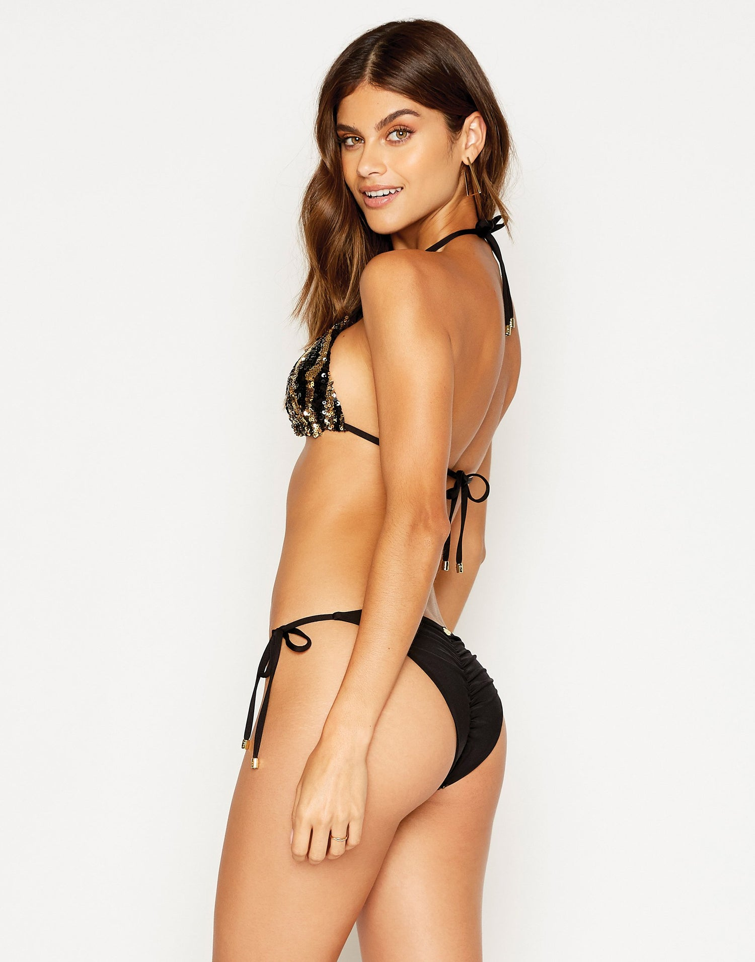 Shiloh Tie Side Bikini Bottom in Black with Gold and Black Sequins - side view