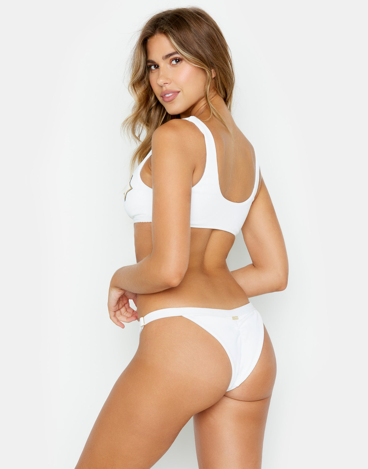 Shooting Star Knot Bikini Top in White Rib - back view