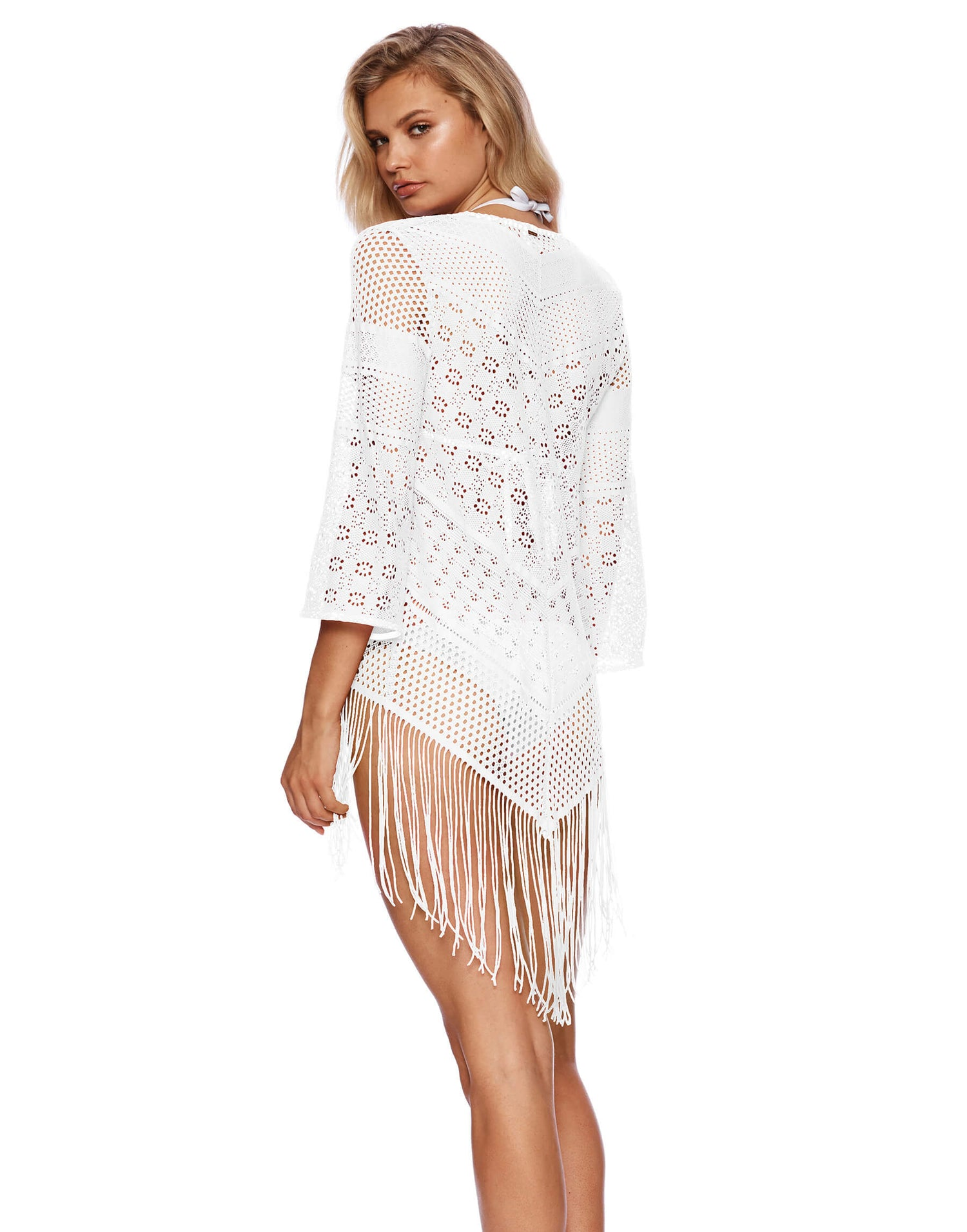 Sienna Kimono Crochet Cover Up in White - back view