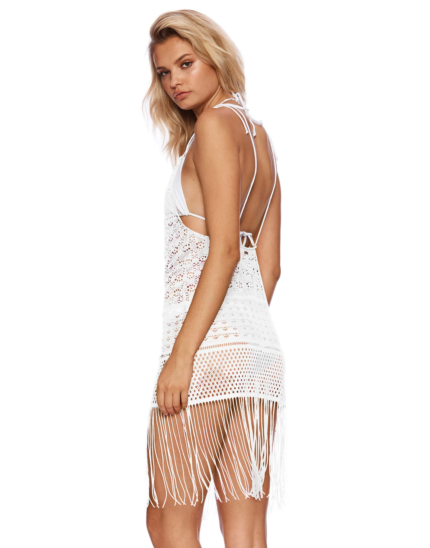 Sienna Mini Dress Crochet Cover Up in White - back view