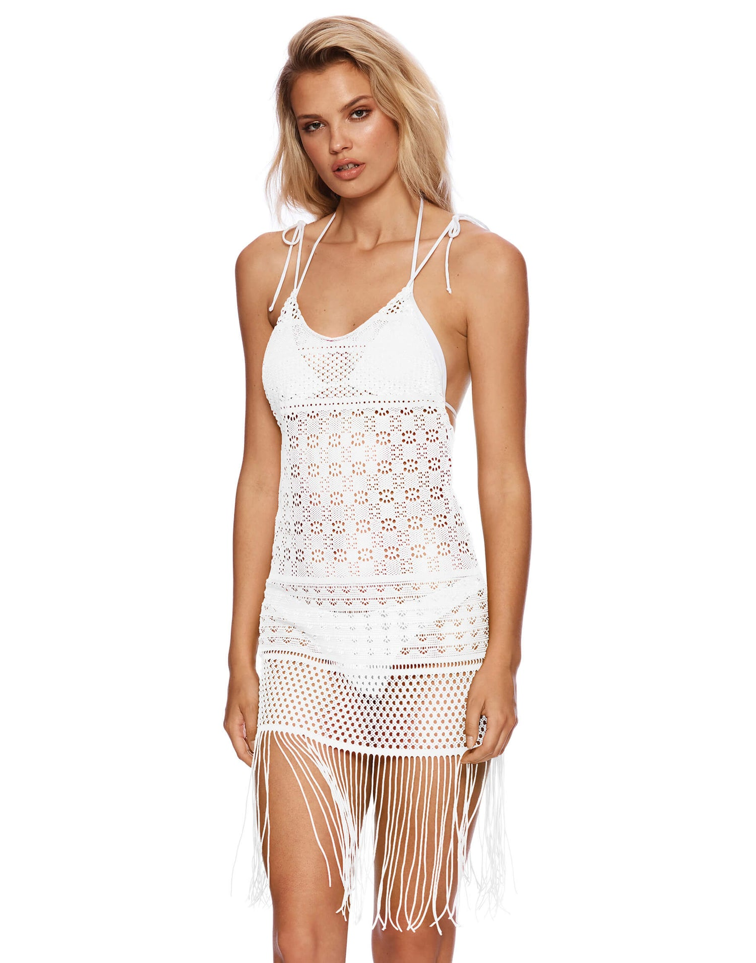 Sienna Mini Dress Crochet Cover Up in White - front view