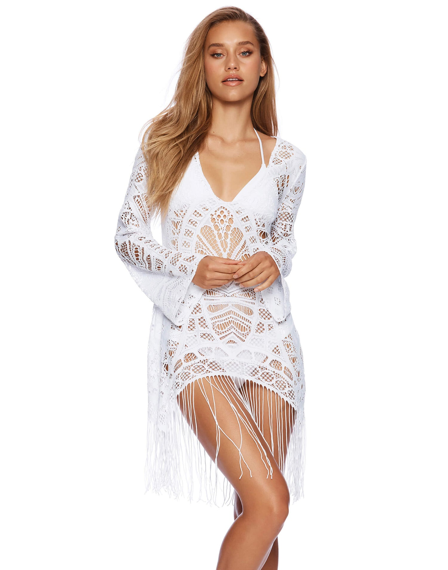 Sienna Tunic Crochet Cover Up in White - front view