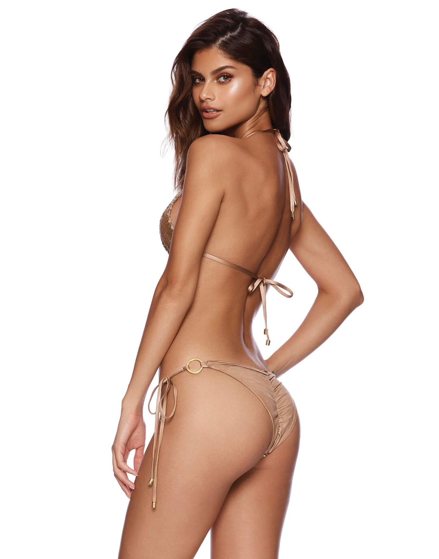 Siren Song Triangle Bikini Top in Gold Sequins - back view