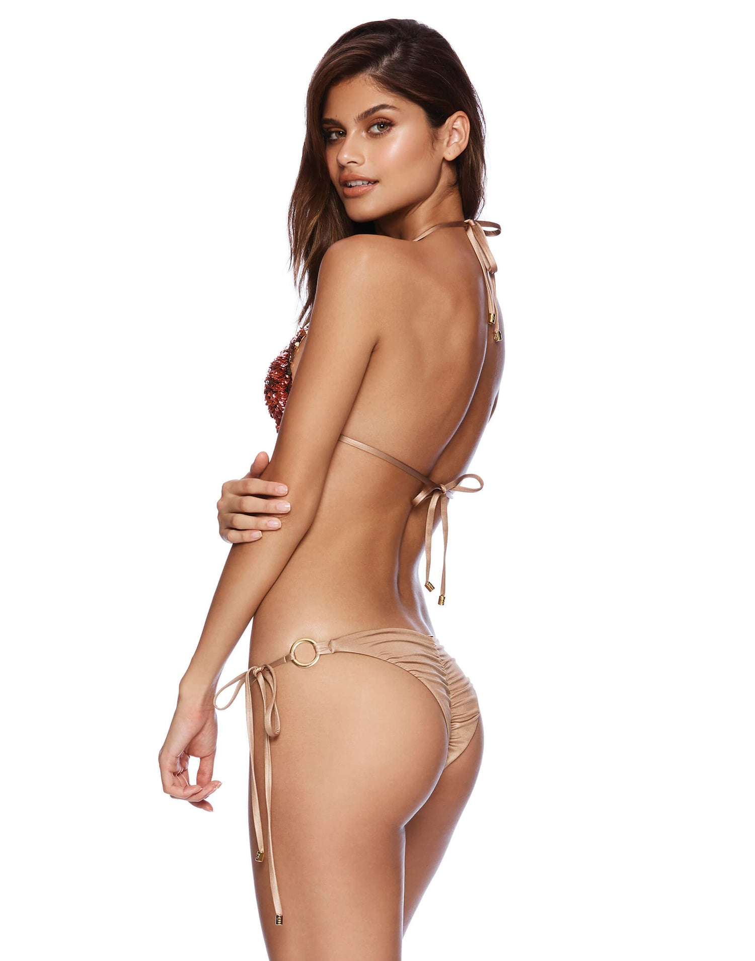 Siren Song Tie Side Skimpy Bikini Bottom in Pink and Gold Sequins - side view