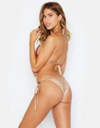Siren Song Tie Side Skimpy Bikini Bottom in Red and Gold Sequins - back view