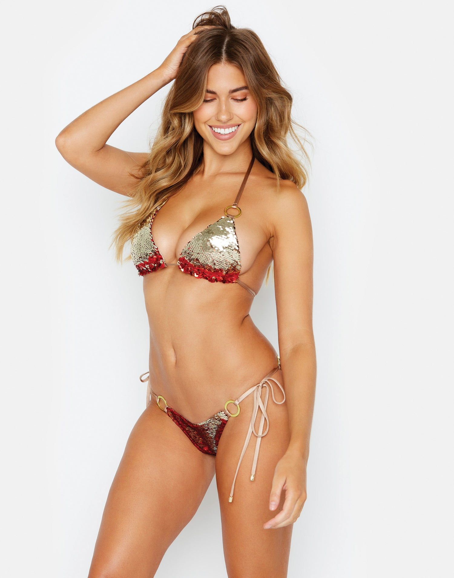 Siren Song Tie Side Skimpy Bikini Bottom in Red and Gold Sequins - alternate front view