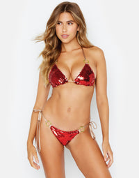 Siren Song Tie Side Skimpy Bikini Bottom in Red and Gold Sequins - front view