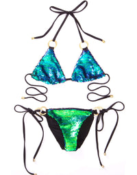 Siren Song Triangle Bikini Top in Green Ombre Sequins - product view