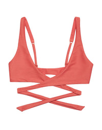 Skylar Wrap Bikini Top in Rose Pink Rib - product view
