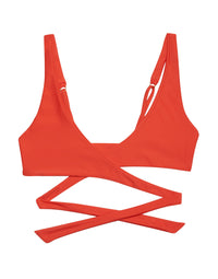 Skylar Wrap Bikini Top in Poppy Red - product view