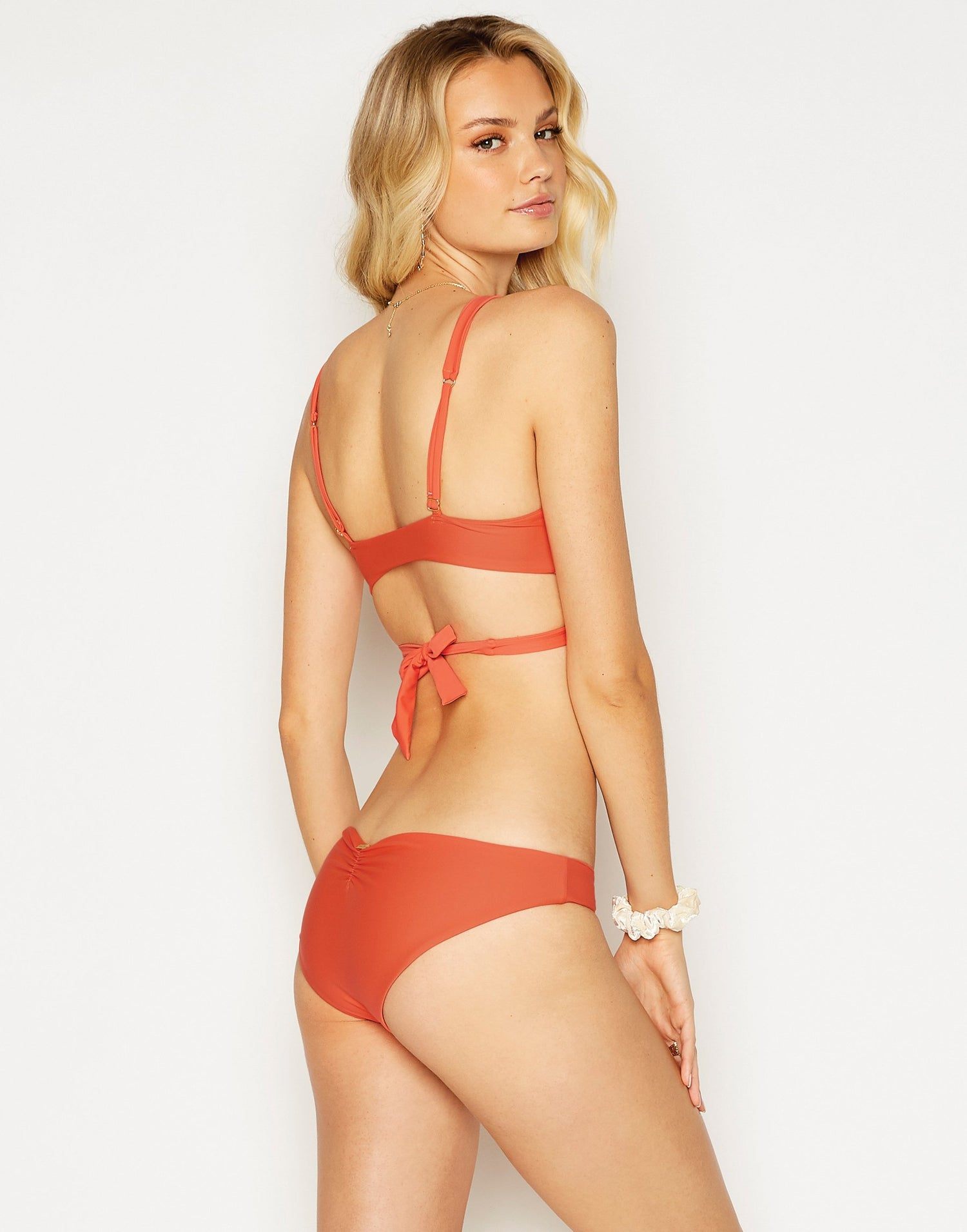 Skylar Wrap Bikini Top in Poppy Red - back view