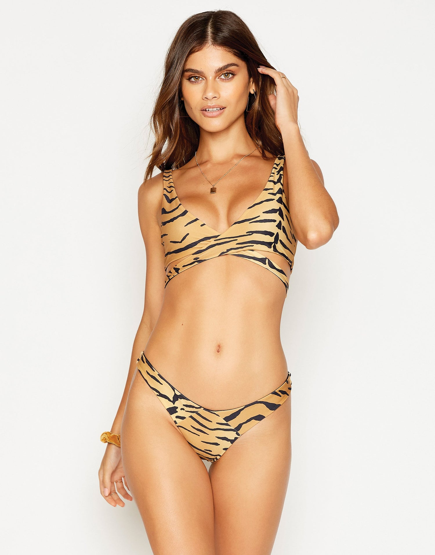 Sydney Brazilian Bikini Bottom in Tiger - front view