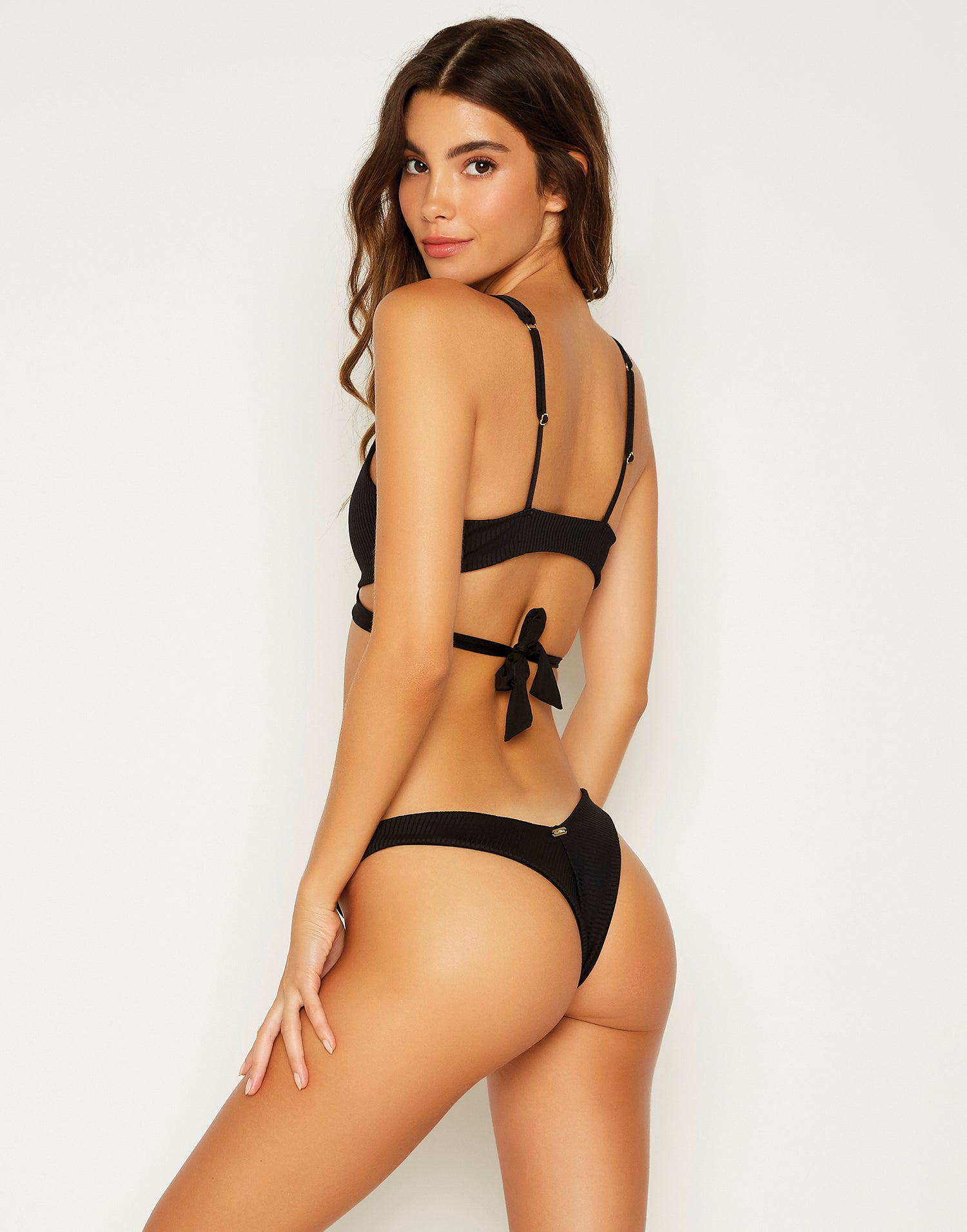 Chrissy Brazilian Bikini Bottom in Black - back view