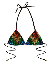 Sloane Triangle Bikini Top in Rainbow Sequins - back view