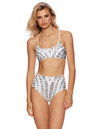 Sloane High Waist Bikini Bottom with Sequins in White - front view