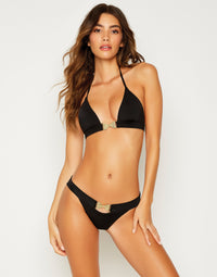Smith Sexy Skimpy Bikini Bottom in Black with Gold Bow Hardware - front view