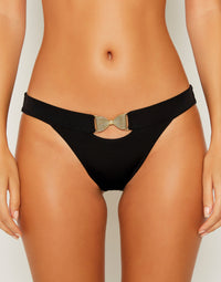 Smith Sexy Skimpy Bikini Bottom in Black with Gold Bow Hardware - detail view