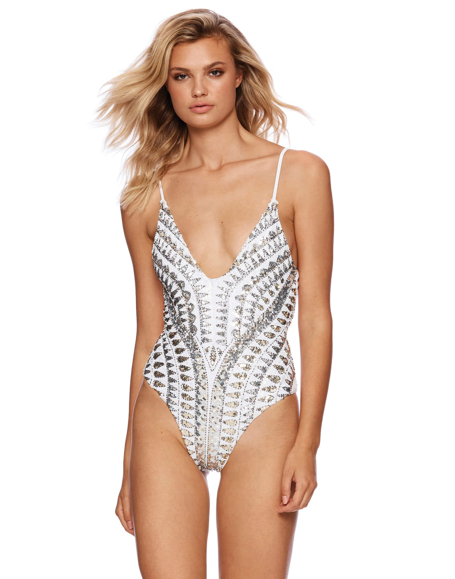 Sloane One Piece with Sequins in White - front view