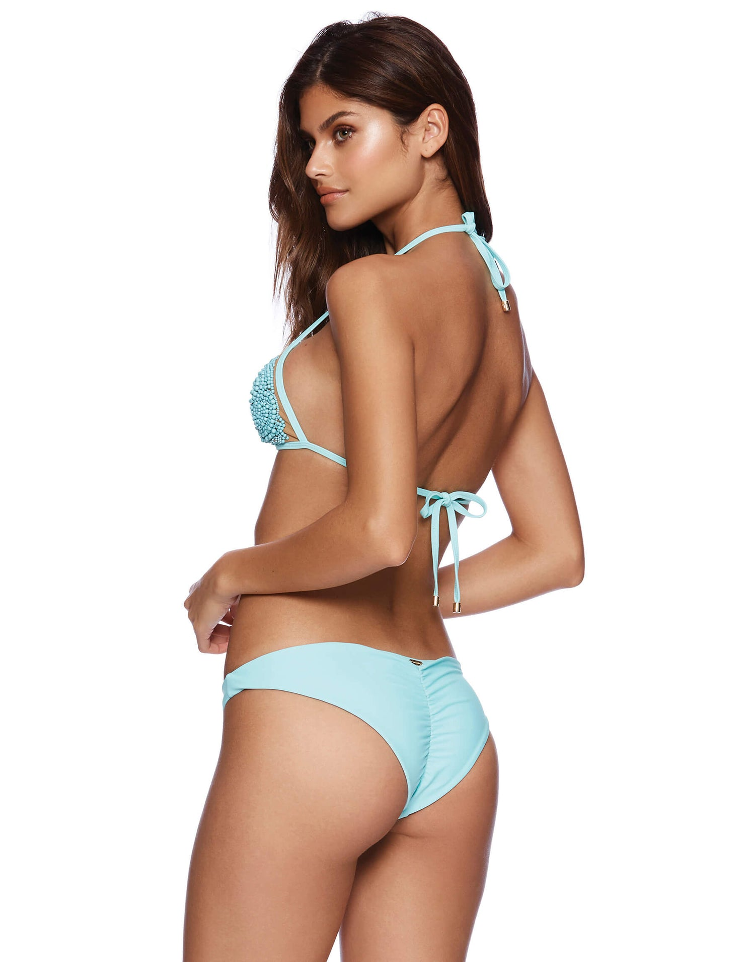 Spellbound Triangle Bikini Top with Beads in Aqua - back view