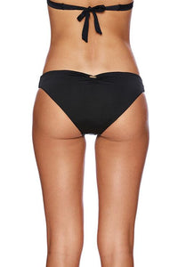Stephanie Midi Bikini Bottom in Black - back view