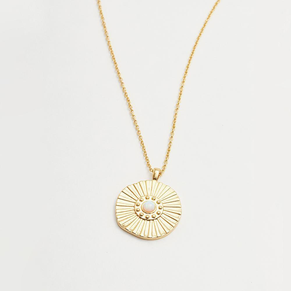 Sunburst Coin Necklace in Gold - detail view