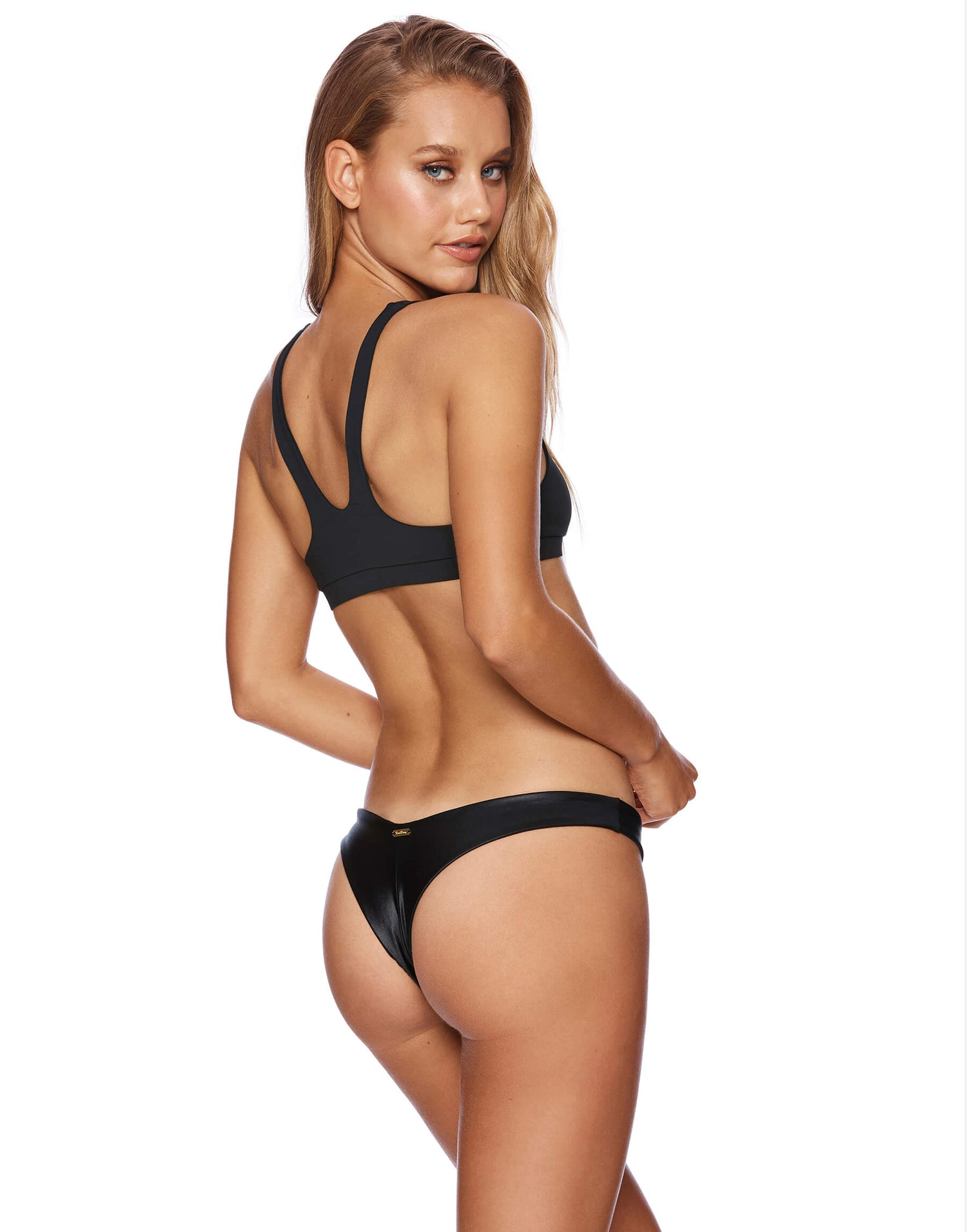 Sutton Bralette Bikini Top in Black - back view