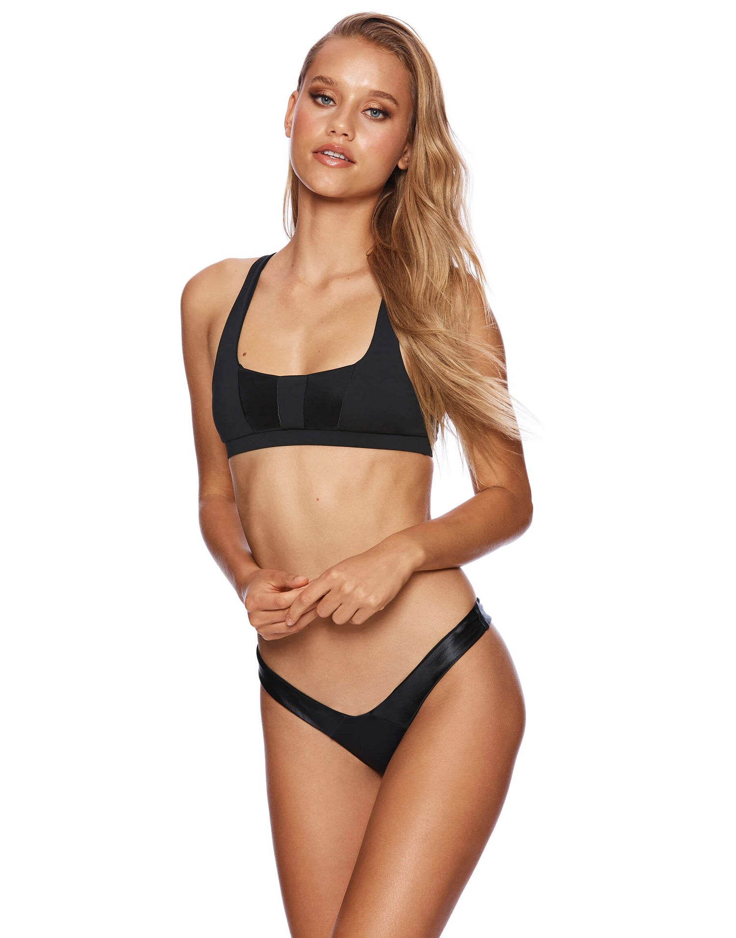 Sutton Bralette Bikini Top in Black - front view