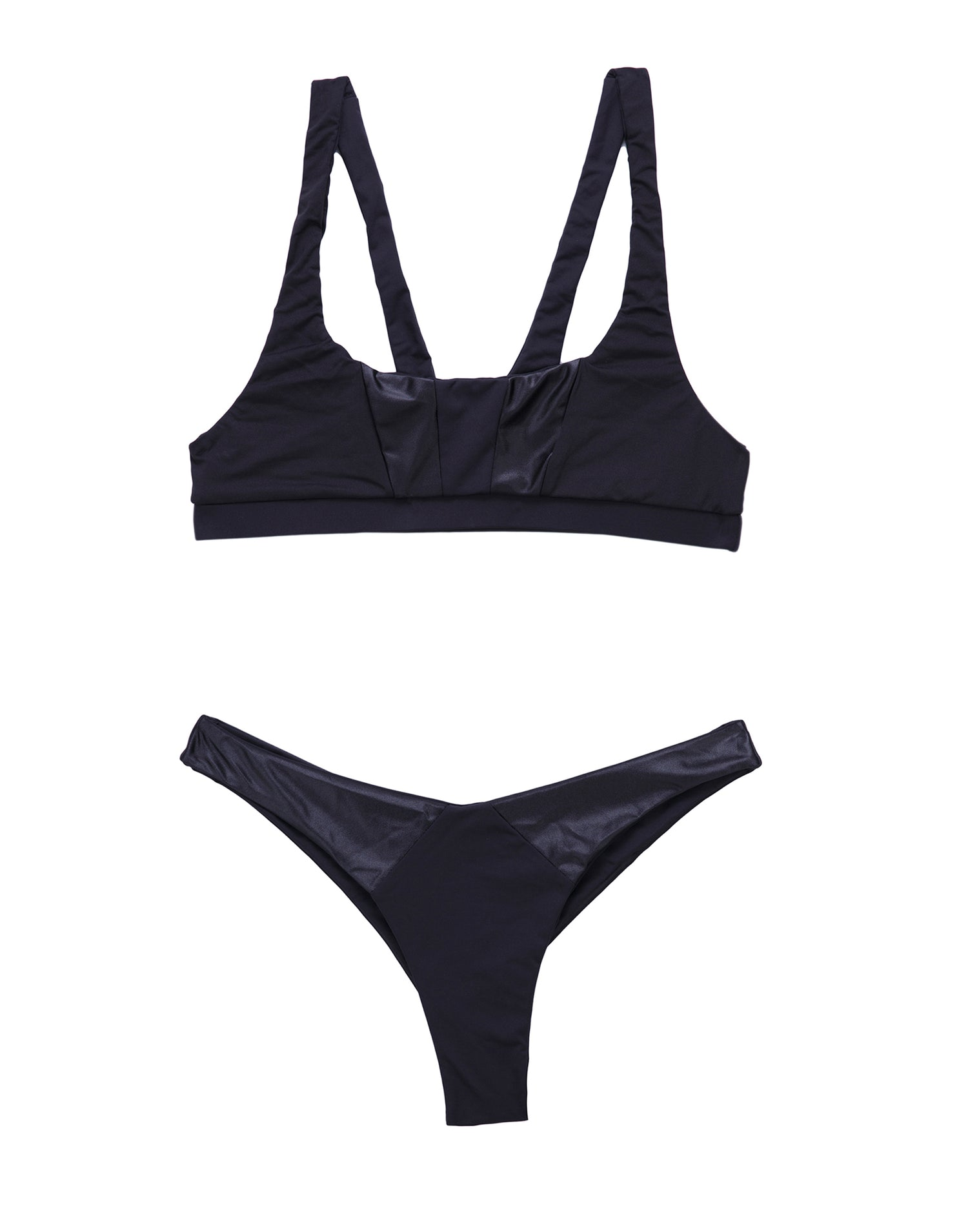 Sutton Bralette Bikini Top in Black - product view