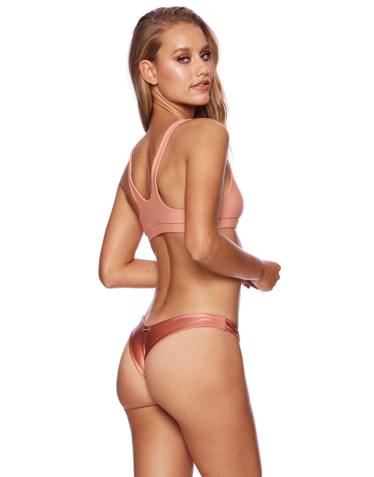 Sutton Bralette Bikini Top in Whiskey Rose - back view