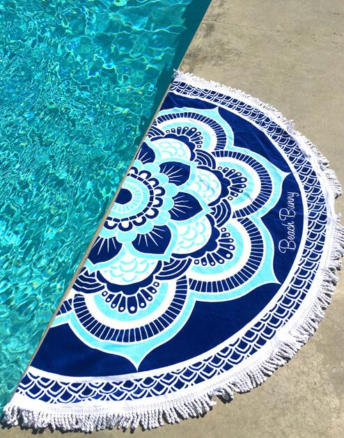 Round Beach Bunny Towel in Ultra Violet - product view