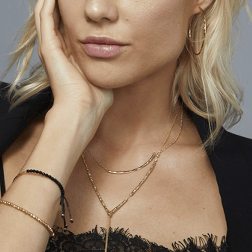 Gorjana's Taner Bar Small Necklace in Gold - styled view
