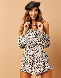 Tanner Off Shoulder Romper in Animal Dot - detail view