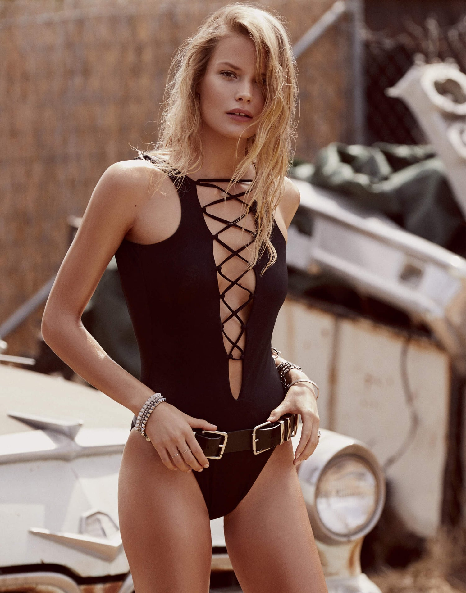 Taylor Lace-Up One Piece in Black - alternate front view