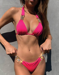 Tiana Halter Bikini Top in Barbie with Gold/Multi Hardware - Alternate Detail View