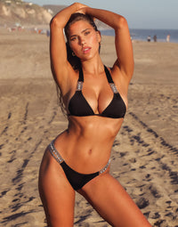 Tiana Halter Bikini Top in Black with Silver Hardware - Alternate Front View