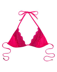 Under Your Spell Triangle Bikini Top in Barbie Pink with Lace - product view